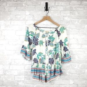 Democracy floral tribal ruffle Blouse | Size S